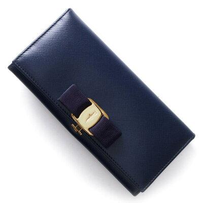 フェラガモ 長財布 財布 レディース ヴァラ VARA リボン オックスフォードブルー 22A900 OBL 0560774 SALVATORE FERRAGAMO