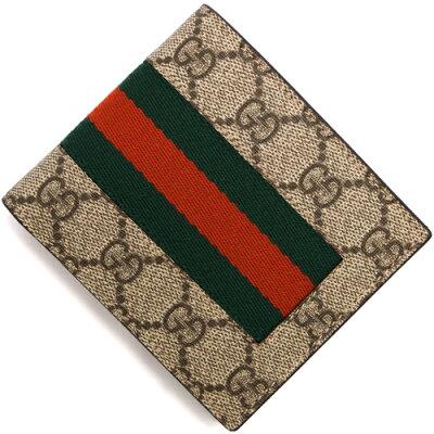 グッチ GUCCI 二つ折り財布 GGスプリーム ベージュ&ダークブラウン 408826 KHN4N 9791 メンズ