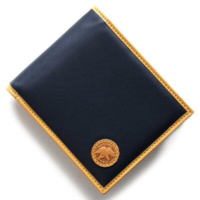 ハンティングワールド HUNTING WORLD 二つ折財布 バチュー オリジン BATTUE ORIGIN ネイビー&ビンテージナチュラル 310 16A メンズ
