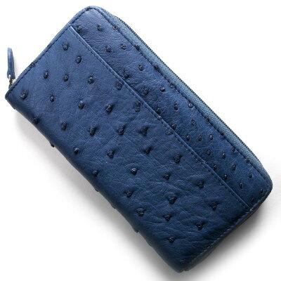 本革 Leather 長財布 オーストリッチ OSTRICH クレマチスブルー OKN1824H CMS メンズ レディース