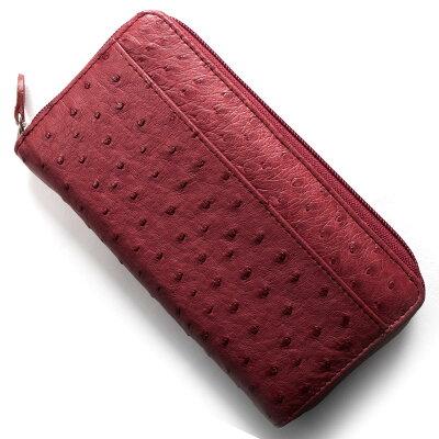 本革 Leather 長財布 オーストリッチ OSTRICH レッド OKN1824H CRD レディース