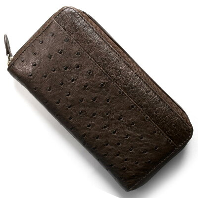 本革 Leather 長財布 オーストリッチ OSTRICH ニコチンブラウン OKN1824H NE メンズ レディース