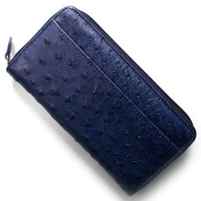 本革 Leather 長財布 オーストリッチ OSTRICH ネイビー OKN1824H NV メンズ レディース