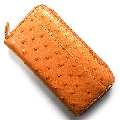 本革 Leather 長財布 オーストリッチ OSTRICH オレンジ OKN1824H OR メンズ レディース