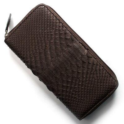 本革 Leather 長財布 パイソン PYTHON ニコチンブラウン OKU6754 NE メンズ レディース