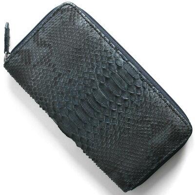 本革 Leather 長財布 パイソン PYTHON アイリスブルー OKU6754 NV メンズ レディース