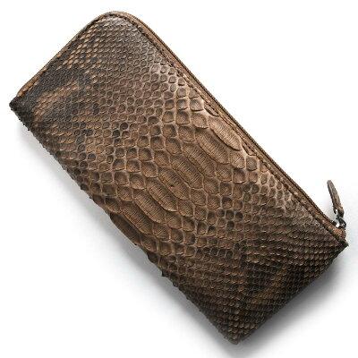 本革 Leather 長財布 パイソン PYTHON ブラウン OKU7165 BR メンズ レディース