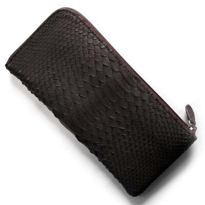 本革 Leather 長財布 パイソン PYTHON ニコチンブラウン OKU7165 NE メンズ レディース
