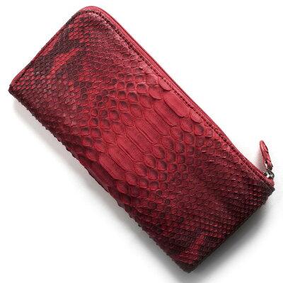 本革 Leather 長財布 パイソン PYTHON レッド OKU7165 RD レディース