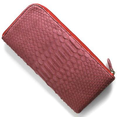 本革 Leather 長財布 パイソン PYTHON ワインレッド OKU7165 WE レディース