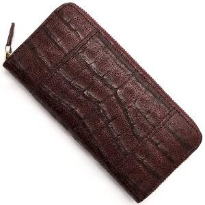 本革 Leather 長財布 クロコダイル 【CROCODILE】 バーガンディレッド R50001 メンズ レディース
