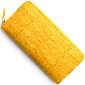 本革 Leather 長財布 クロコダイル 【CROCODILE】 フェリーイエロー R50001 メンズ レディース