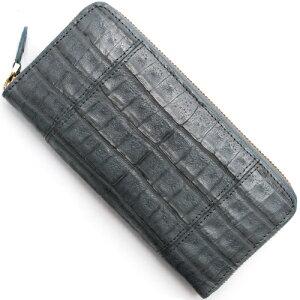 本革 Leather 長財布 クロコダイル 【CROCODILE】 グレー R50001 メンズ レディース