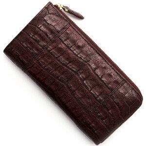 本革 Leather 長財布【札入れ】 クロコダイル 【CROCODILE】 バーガンディレッド R50002 メンズ レディース