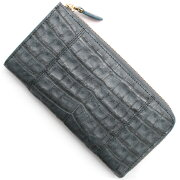 本革 Leather 長財布【札入れ】 クロコダイル 【CROCODILE】 グレー R50002 メンズ レディース