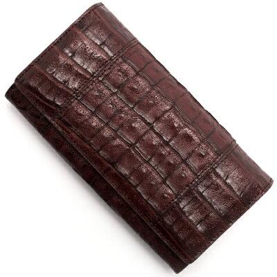 本革 Leather 長財布 クロコダイル 【CROCODILE】 バーガンディレッド R50003 BUR メンズ レディース