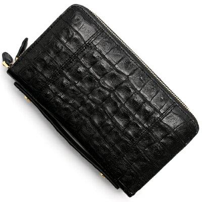 本革 Leather 長財布/パスポートケース クロコダイル 【CROCODILE】 ブラック R50004 メンズ レディース