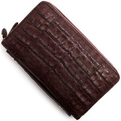 本革 Leather 長財布/パスポートケース クロコダイル 【CROCODILE】 バーガンディレッド R50004 BUR メンズ レディース