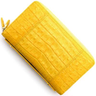 本革 Leather 長財布/パスポートケース クロコダイル 【CROCODILE】 フェリーイエロー R50004 FER メンズ レディース