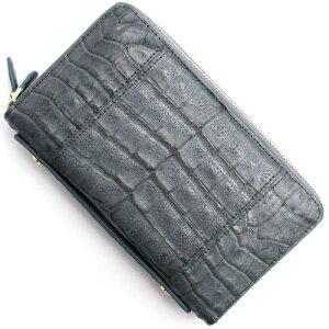 本革 Leather 長財布/パスポートケース クロコダイル 【CROCODILE】 グレー R50004 GRE メンズ レディース