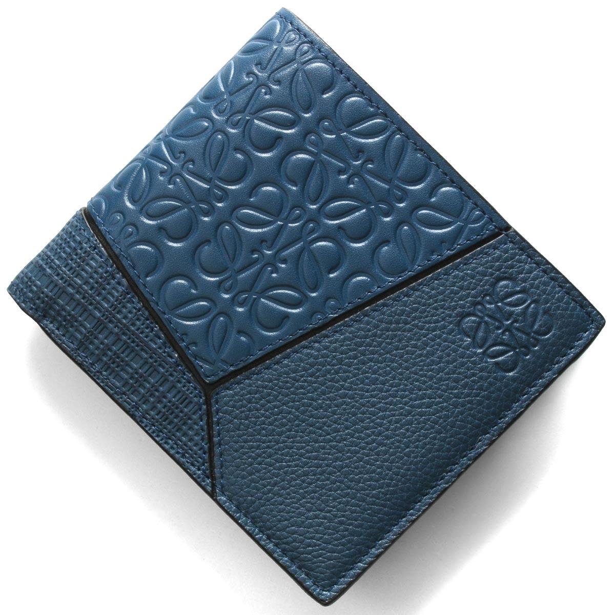 ロエベ二つ折り財布【札入れ】財布メンズパズルアナグラムインディゴブルー124302995820LOEWE