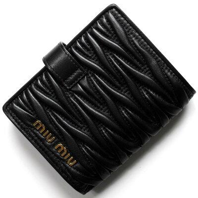ミュウミュウ 二つ折り財布 財布 レディース マトラッセ ブラック 5MV016 N88 F0002 2018年秋冬新作 MIU MIU