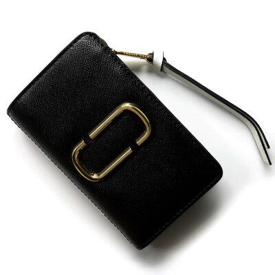 マークジェイコブス 二つ折り財布 財布 レディース スナップショット ブラック&ベイビーピンク M0013356 978 1SZ 2018年秋冬新作 MARC JACOBS
