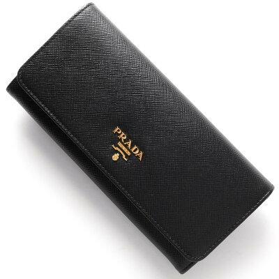 プラダ PRADA 長財布 SAFFIANO METAL ブラック 1MH132 QWA F0002 レディース