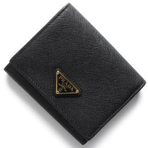 プラダ PRADA 三つ折財布 サフィアーノ トライアングル SAFFIANO TRIANG 三角ロゴプレート ブラック 1MH176 QHH F0002 レディース