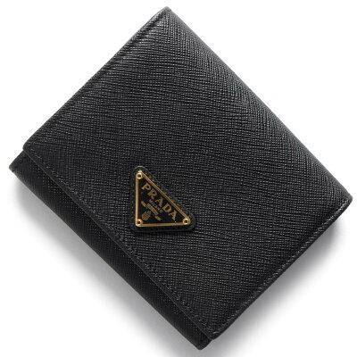 プラダ PRADA 三つ折り財布 サフィアーノ トライアングル SAFFIANO TRIANG 三角ロゴプレート ブラック 1MH176 QHH F0002 レディース