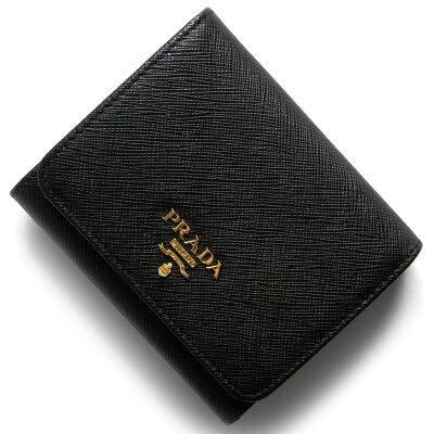 プラダ PRADA 三つ折り財布 サフィアーノ メタル SAFFIANO METAL ブラック 1MH176 QWA F0002 2017年秋冬新作 レディース