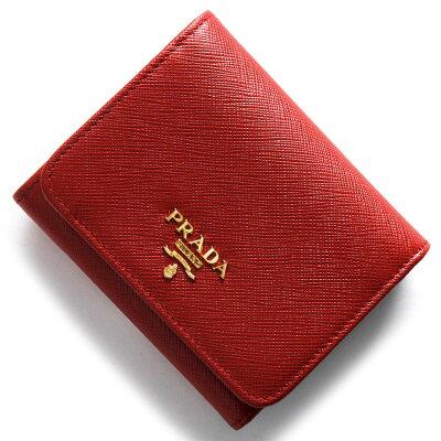 プラダ PRADA 三つ折財布 サフィアーノ メタル SAFFIANO METAL フッコレッド 1MH176 QWA F068Z レディース