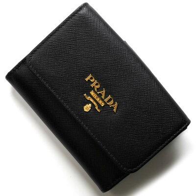 プラダ PRADA 二つ折り財布 サフィアーノ メタル/SAFFIANO METAL ブラック 1MH523 QWA F0002 レディース