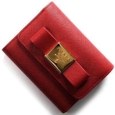 プラダ 三つ折り財布 財布 レディース サフィアーノ フィオーコ SAFFIANO FIOCCO リボン フォーコレッド 1MH840 2AEE F068Z PRADA