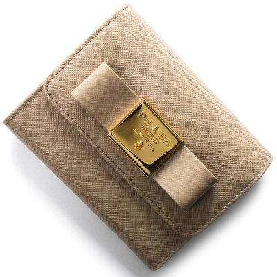 プラダ 三つ折り財布 財布 レディース サフィアーノ フィオーコ サフィアーノ フィオーコ SAFFIANO FIOCCO リボン カメオベージュ 1MH840 2AEE F0770 PRADA