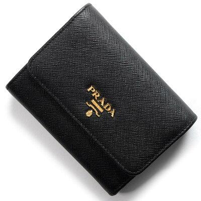 プラダ PRADA 三つ折り財布 サフィアーノ メタル/SAFFIANO METAL ブラック 1MH840 QWA F0002 レディース
