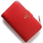 プラダ PRADA 二つ折財布 VITELLO MOVE ラッカレッド 1ML225 2EZZ F0RGA レディース