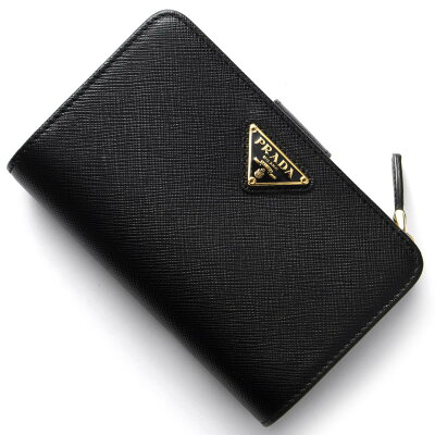プラダ PRADA 二つ折財布 サフィアーノ トライアングル SAFFIANO TRIANG 三角ロゴプレート ブラック 1ML225 QHH F0002 レディース