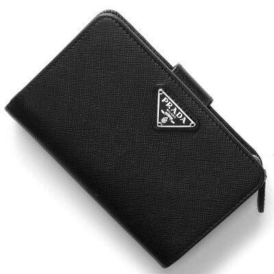 プラダ PRADA 二つ折財布 サフィアーノ トライアングル SAFFIANO TRIANG 三角ロゴプレート ブラック 1ML225 QHH F0632 レディース
