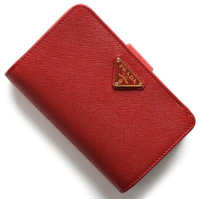 プラダ PRADA 二つ折財布 サフィアーノ トライアングル SAFFIANO TRIANG 三角ロゴプレート フッコレッド 1ML225 QHH F068Z レディース
