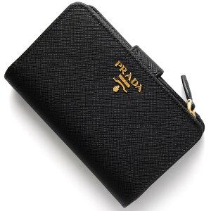 プラダ PRADA 二つ折財布 SAFFIANO METAL ブラック 1ML225 QWA F0002 レディース