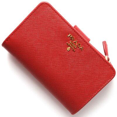プラダ 二つ折り財布 財布 レディース SAFFIANO METAL ロッソレッド 1ML225 QWA F0011 PRADA