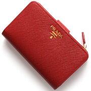 プラダ PRADA 二つ折財布 SAFFIANO METAL フッコレッド 1ML225 QWA F068Z レディース