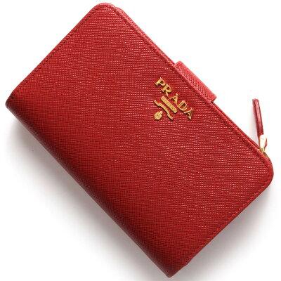 プラダ PRADA 二つ折り財布 サフィアーノ メタル/SAFFIANO METAL フッコレッド 1ML225 QWA F068Z レディース