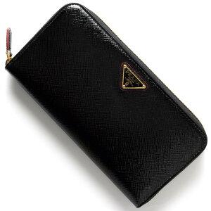 プラダ PRADA 長財布 SAFFIANO VERNIC 三角ロゴプレート ブラック&レッド 1ML506 2AO6 F0DKX レディース