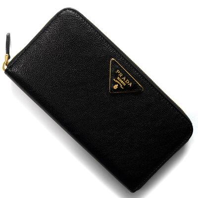 プラダ 長財布 財布 レディース グラス カーフ グラス カーフ GLACE'CALF 三角ロゴプレート ブラック 1ML506 3B1V F0002 PRADA