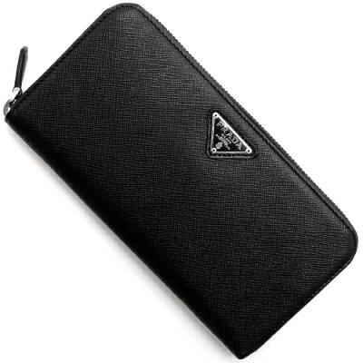 プラダ PRADA 長財布 SAFFIANO TRIANG 三角ロゴプレート ブラック 1ML506 QHH F0632 メンズ レディース