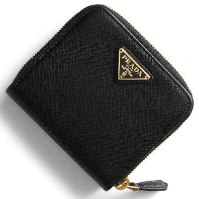 プラダ PRADA 二つ折財布 サフィアーノ トライアングル SAFFIANO TRIANG 三角ロゴプレート ブラック 1ML522 QHH F0002 レディース