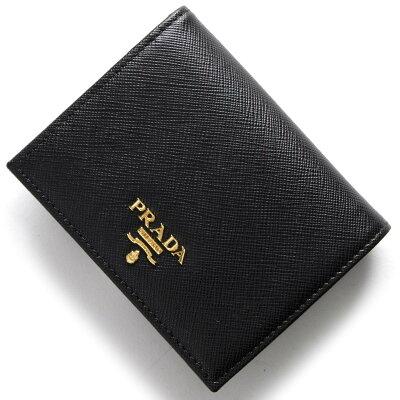 プラダ PRADA 二つ折財布 サフィアーノ メタル SAFFIANO METAL ブラック 1MV204 QWA F0002 レディース
