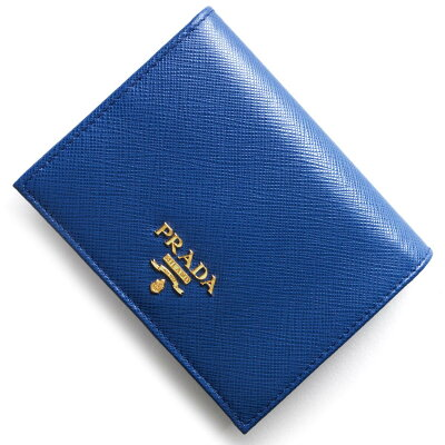 プラダ PRADA 二つ折財布 サフィアーノ メタル SAFFIANO METAL アズーロブルー 1MV204 QWA F0013 レディース